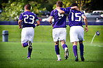 Quinton Beasley - Brent Richards, Jamie Finch - UW mens soccer vs UAB.  Photo by Rob Sumner / Red Box Pictures.