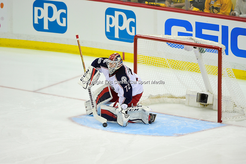 Wednesday, April 12, 2017: Columbus Blue Jackets goalie Sergei Bobrovsky (72) makes a save during game 1 of round one of the National Hockey League Eastern Conference Stanley Cup Playoffs between the Columbus Blue Jackets and the Pittsburgh Penguins, held at PPG Paints Arena, in Pittsburgh, PA.  Pittsburgh defeats Columbus 3-1. Eric Canha/CSM