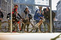 Tom Boonen (BEL/Quick Step Floors) pre race interview. <br /> Greg Van Avermaet (BEL/BMC) is the next in line to be interviewed<br /> <br /> 101st Ronde van Vlaanderen  2017 (1.UWT)<br /> 1day race: Antwerp-Oudenaarde (260km)