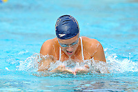 14 January 2012:  FIU's Klara Andersson competes in the 400 yard medley relay as the FIU Golden Panthers won the meet with the Central Connecticut State University Blue Devils at the Biscayne Bay Campus Aquatics Center in Miami, Florida.