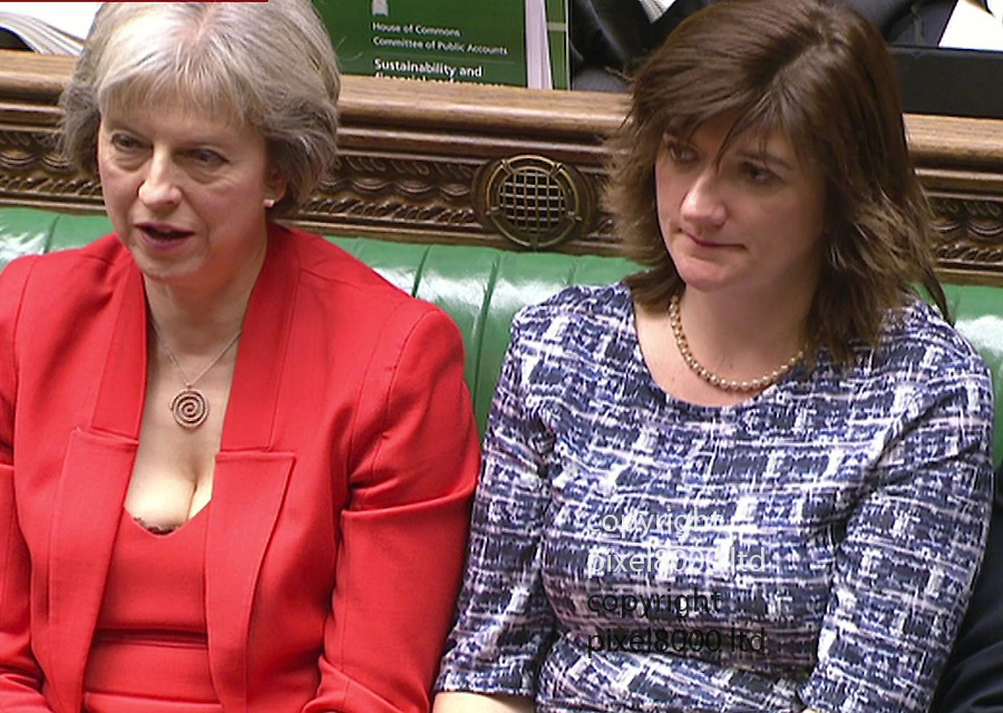 Pic shows: Budget 2016<br /> <br /> Nicky Morgan and Theresa may with her low cut top<br /> <br /> <br /> <br /> <br /> Picture by Pixel8000 07917221968