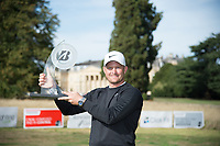 Tom Lewis with the Bridgestone Challenge trophy after he wins with a score of 25 under par during the final round of the  Bridgestone Challenge, Luton Hoo Hotel, Bedfordshire, England. 09/09/2018.<br /> Picture  / Golffile.ie<br /> <br /> All photo usage must carry mandatory copyright credit (&copy; Golffile | )