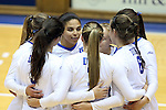 11 September 2015: Dukes starters huddle before the start of the match. The Duke University Devils hosted the Stanford University Cardinal at Cameron Indoor Stadium in Durham, NC in a 2015 NCAA Division I Women's Volleyball contest. Stanford won the match 3-2 (17-25, 25-22, 17-25, 25-23, 10-15).