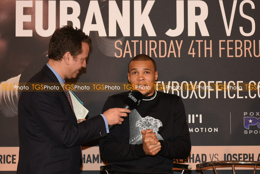Boxer Chris Eubank Jr speaks during during a Poxon Sports Press Conference at the Apex Room on 2nd February 2017