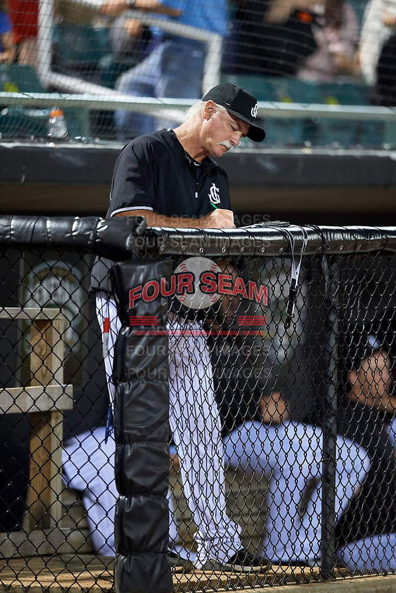 Jackson Generals pitching coach Doug Drabek (15) in the dugout during a game against the Chattanooga Lookouts on April 29, 2017 at The Ballpark at Jackson in Jackson, Tennessee.  Jackson defeated Chattanooga 7-4.  (Mike Janes/Four Seam Images)