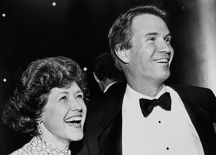 Rep. John Berlinger Breaux, D- La., and his wife, Lois Breaux, standing at a Democratic National Committee Fundraiser dinner. November 2, 1989 (Photo by Maureen Keating/CQ Roll Call)