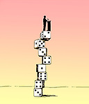 Concept image of a speaker on top of a column of dice giving a speech depicting instability and risk