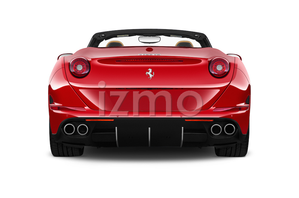 Straight rear view of 2015 Ferrari California T 2 Door Convertible Rear View  stock images