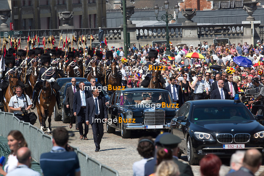 BRUSSELS, BELGIUM: The Belgian Royal Family greets the Population from the balcony of the Royal Palace July 21, 2013 . Were present: King Philippe, Queen Mathilde, King Albert, Queen paola, Prince Emmanuel, Princee Elisabeth, Prince Gabriel, Princess Eleonore, Prince Laurent, Princess Claire, Queen Fabiola, Princess Astrid and Prince Lorenz.
