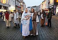 Nederland Den Bosch 2017-01-08.  Driekoningen viering. Optocht over de Markt. Jozef en Maria.  Foto Berlinda van Dam / Hollandse Hoogte