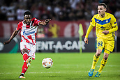 14th September 2017, Red Star Stadium, Belgrade, Serbia; UEFA Europa League Group stage, Red Star Belgrade versus BATE; Midfielder Guelor Kanga of Red Star Belgrade shoots as Mikhail Gordejchuk comes in for a tackle