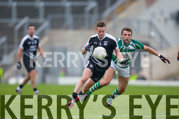 Rory Horgan Ardfert flies past Darragh Murphy Valley Rovers during the Munster Intermediate Championship final in Fitzgerald Stadium on Saturday