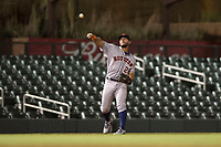 Scottsdale Scorpions third baseman Abraham Toro (28), of the Houston Astros organization, throws to first base during an Arizona Fall League game against the Salt River Rafters at Salt River Fields at Talking Stick on October 11, 2018 in Scottsdale, Arizona. Salt River defeated Scottsdale 7-6. (Zachary Lucy/Four Seam Images)