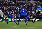 9th December 2017, St James Park, Newcastle upon Tyne, England; EPL Premier League football, Newcastle United versus Leicester City; Dwight Gayle of Newcastle United smashes in the equaliser in the 73rd minute