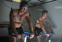 PICTURE BY VAUGHN RIDLEY/SWPIX.COM - Rugby League - England Rugby League - Leeds University, Leeds, England - 24/09/08...Copyright - Simon Wilkinson - 07811267706...England's Darrell Griffin and Michael Shenton ride bikes in a Heat Chamber to help acclimatize to the possible temperatures in Australia during the upcoming Rugby League World Cup 2008.