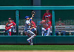 31 May 2014: Texas Rangers outfielder Alex Rios pulls in a Denard Span fly ball in the 4th inning against the Washington Nationals at Nationals Park in Washington, DC. The Nationals defeated the Rangers 10-2, notching a second win of their 3-game inter-league series. Mandatory Credit: Ed Wolfstein Photo *** RAW (NEF) Image File Available ***