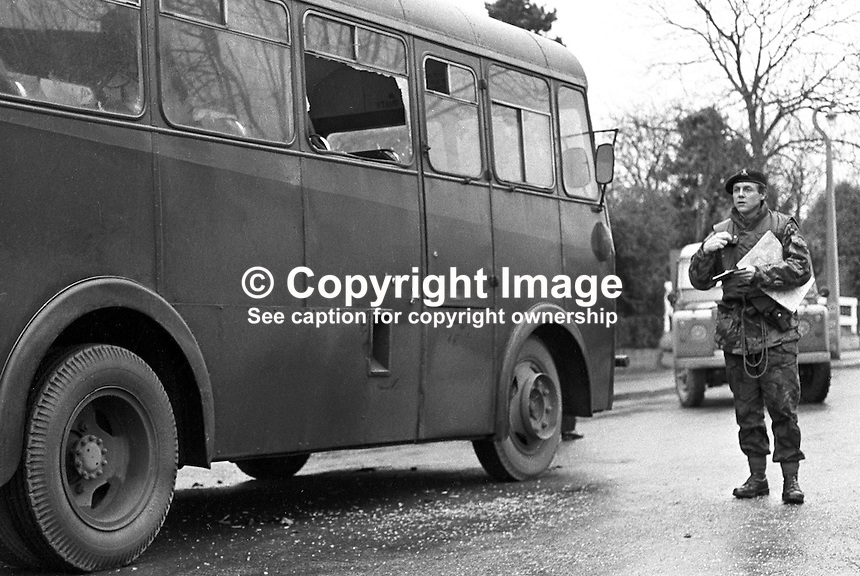 One man died and 4 others were injured out of a total of 14 when a grenade was thrown into this bus at Kingsway Park, Dundonald, N Ireland, UK. The bus was carrying building workers to the site of a new Roman Catholic primary school.  The bus was halted to allow a limping youth cross the road. The youth was in fact Albert Ginger Baker, member of a UDA gang, who was jailed for his part in the killing of Patrick Eugene Heenan, a married father of 5, from Andersonstown. 197302010073a.<br />