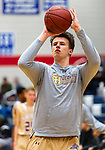 WATERBURY, CT. 10 January 2020-011020BS513 - Sacred Heart's Connor Tierney warms ups before a NVL cross city Boys Basketball game between Sacred Heart and Crosby at the Palace at Crosby High on Friday. Bill Shettle Republican-American