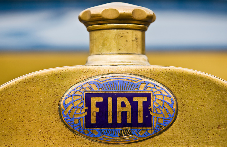 Fiat logo on vintage car, Gloucestershire, United Kingdom