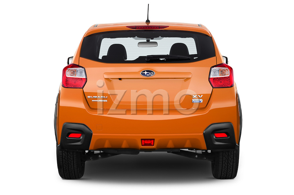 Straight rear view of 2015 Subaru XV-Crosstrek Premium 5 Door SUV Rear View  stock images