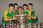 ANCIOUS: Ancious to hold the Sam Maguire Cup on it visit to the Green School on Friday l-r: Gearo?id hartnett, Jonathan Brick, Kieran Maher, gary Sheehy and Cian Sheridan..