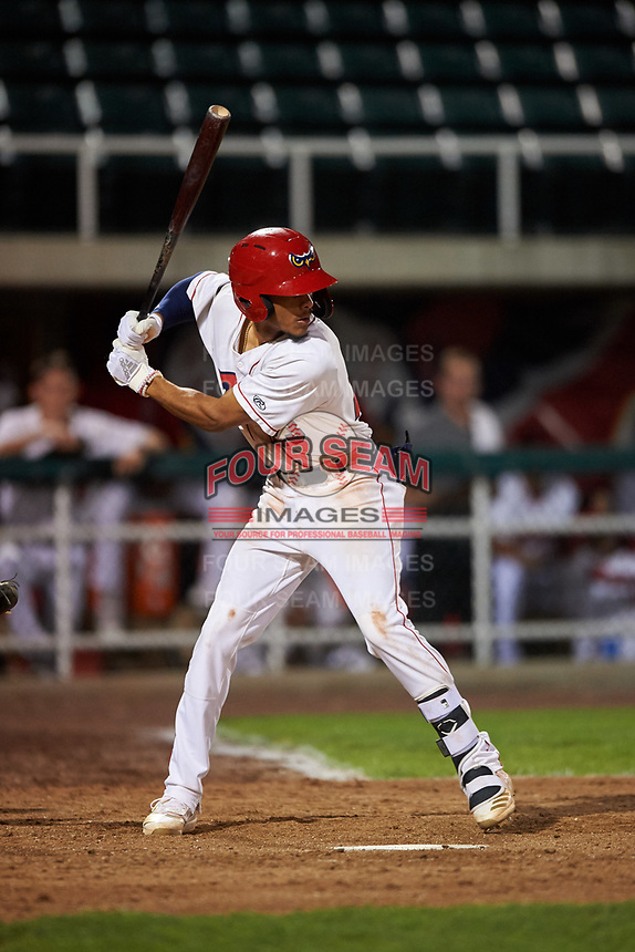 Orem Owlz Jeremiah Jackson (23) at bat during a Pioneer League game against the Idaho Falls Chukars at The Home of the OWLZ on August 13, 2019 in Orem, Utah. Orem defeated Idaho Falls 3-1. (Zachary Lucy/Four Seam Images)