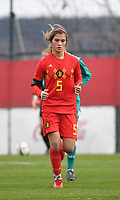 20181205 - TUBIZE , BELGIUM : Belgian Melissa Tom pictured during the friendly female soccer match between Women under 15 teams of  Belgium and Gemany , in Tubize , Belgium . Wednesday 5 th December 2018 . PHOTO SPORTPIX.BE / DIRK VUYLSTEKE