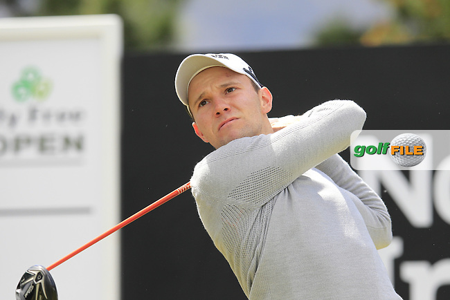 Maximilian KIEFFER (GER) tees off the 1st tee to start his round during Sunday's Final Round of the 2015 Dubai Duty Free Irish Open, Royal County Down Golf Club, Newcastle Co Down, Northern Ireland 5/31/2015.<br /> Picture Eoin Clarke, www.golffile.ie