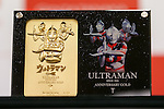 A commemorative 24k gold plate of Japanese superhero Ultraman on display at the Ginza Tanaka jewelry store on January 25, 2017, Tokyo, Japan. To coincide with the 50th anniversary broadcast of the Ultraman television series, Ginza Tanaka has released a pure gold commemorative bust of the superhero measuring 30 cm height weighing 11kg. It is valued at 110,000,000 JPY (approximately 1,000,000 USD.) The store is also selling a set of 24k gold coins and a commemorative plate until January 31. The Japanese TV series was first aired in 1966. (Photo by Rodrigo Reyes Marin/AFLO)