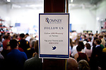 GOP presidential candidate Gov. Mitt Romney's campaign posts their social media outlets at a campaign rally at EIT LLC, and electronics design and manufacturing company, in Sterling, Virginia, June 27, 2012.