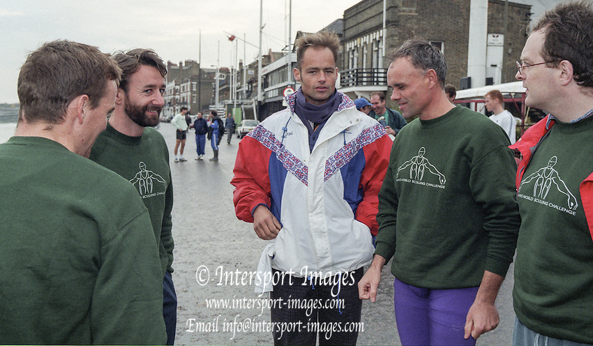 Putney. London. GREAT BRITAIN;  Putney. London. GREAT BRITAIN;  Left to right, Niall O'TOOLE. Peter HAINING,  Wade HALL CRAGGS,  Frans GOEBEL and  John TIERNEY.<br /> <br /> 1995 Thames World Sculling Championships, Putney to Mortlake. Championship Course, River Thames.<br /> <br /> [Mandatory Credit; &quot;Photo, Peter Spurrier/Intersport-images]