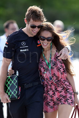 10.06.2011 Montreal, Canada Jenson Button (GBR), Vodafone McLaren Mercedes and his girlfriend Jessica Michibata (JPN) arrive at the Formula 1 World Championship Round 07 at Canadian Grand Prix 2011 at Circuit Gilles Villeneuve