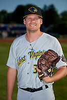 West Virginia Black Bears pitcher Cameron Junker (32) poses for a photo before a NY-Penn League game against the Batavia Muckdogs on June 26, 2019 at Dwyer Stadium in Batavia, New York.  Batavia defeated West Virginia 4-2.  (Mike Janes/Four Seam Images)