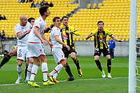 Dario Vidosic (centre) watches his goal go in during the A-League football match between Wellington Phoenix and Adelaide United FC at Westpac Stadium in Wellington, New Zealand on Sunday, 8 October 2017. Photo: Dave Lintott / lintottphoto.co.nz