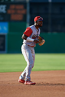 Williamsport Crosscutters third baseman Kendall Simmonsn (19) during a NY-Penn League game against the Batavia Muckdogs on August 25, 2019 at Dwyer Stadium in Batavia, New York.  Williamsport defeated Batavia 10-3.  (Mike Janes/Four Seam Images)