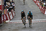 Tao Geoghegan Hart (GBR) Team Sky and Truls Korsaeth (NOR) Astana cross the finish line of the 2017 Strade Bianche running 175km from Siena to Siena, Tuscany, Italy 4th March 2017.<br /> Picture: Eoin Clarke | Newsfile<br /> <br /> <br /> All photos usage must carry mandatory copyright credit (&copy; Newsfile | Eoin Clarke)