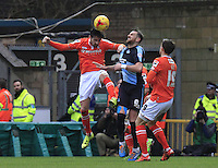 Luton Town defender Alan Sheehan heads the ball away during the Sky Bet League 2 match between Wycombe Wanderers and Luton Town at Adams Park, High Wycombe, England on 6 February 2016. Photo by Liam Smith.