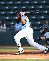 Hickory Crawdads Curtis Terry (29) bats during a game with the Asheville Tourists at L.P. Frans Stadium on May 8, 2019 in Hickory, North Carolina. The Tourists defeated the Crawdads 7-6. (Tracy Proffitt/Four Seam Images)