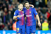 FC Barcelona's Jordi Alba (l) and Luis Suarez celebrate goal during La Liga match. December 17,2016. (ALTERPHOTOS/Acero)