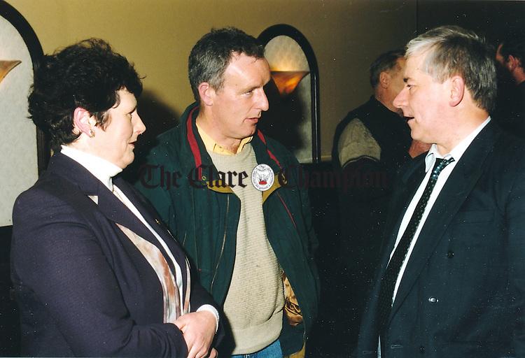 Mary Hogan, Ennis; Eamonn Kelly, Kilmaley and Donie Ryan, Teagasc advisers at Ennis meeting - January 21, 2000.