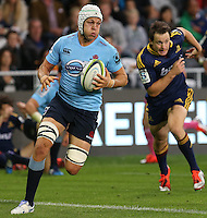 Waratahs Stephen Hoiles try bound against the Highlanders in the Super 15 rugby match, Forsyth Barr Stadium, Dunedin, New Zealand, Saturday, March 14, 2015. Credit: SNPA/Dianne Manson
