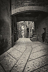A laneway in the medieval walled town of Montefalco in Umbria, Italy