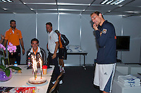 Switserland, Genève, September 19, 2015, Tennis,   Davis Cup, Switserland-Netherlands, Birthday cace for Dutch Timo de Bakker who turns 27 today<br /> Photo: Tennisimages/Henk Koster