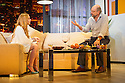 "London, UK. 30.09.2014. ""Speed-the-Plow"", by David Mamet, directed by Lindsay Posner, starring Lindsay Lohan, opens at the Playhouse Theatre. Picture shows: Lindsay Lohan (Karen) and Richard Schiff (Bobby Gould). Photograph © Jane Hobson."