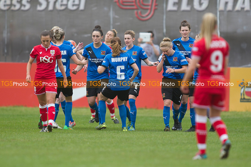 Penalty taker Flanagan of Sheff W opens the scoring during Sheffield FC Ladies vs Bristol City Women, FA Women's Super League FA WSL2 Football at the Coach and Horses Ground on 22nd May 2016