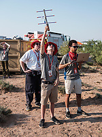 A team measure the telemetry of a rocket to the launch pad at Spaceport America Cup near the town of Truth or Consequences, New Mexico, June 20-24, 2017. The International Intercollegiate Rocket Engineering Competition hosted over 110 teams from colleges and universities in eleven countries. Students launched solid, liquid, and hybrid rockets to target altitudes of 10,000 and 30,000 feet. The 2017 Spaceport America Cup winner was the University of Michigan, Ann Arbor, Team 79.<br /> <br /> Photo by Matt Nager