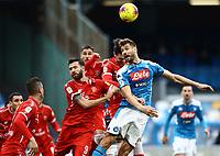 14th January 2020; Stadio San Paolo, Naples, Campania, Italy; Coppa Italia Football, Napoli versus Perugia; Fernando Llorente  of Napoli  wins the header from a corner kick - Editorial Use