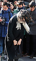Cho Hyun-ah, DECEMBER 17, 2014 - The eldest daughter of Korean airlines (KAL) Chairman Cho Yang-ho and former vice president of KAL, Cho Hyun-ah bows as she appears before prosecutors in Seoul, South Korea. Prosecutors summoned Cho on Wednesday to question for ordering a crew member to leave a plane over an alleged breach of snack-serving protocol at John F. Kennedy airport in New York City on December 5, 2014, local media reported. (Photo by Lee Jae-Won/AFLO) (SOUTH KOREA)