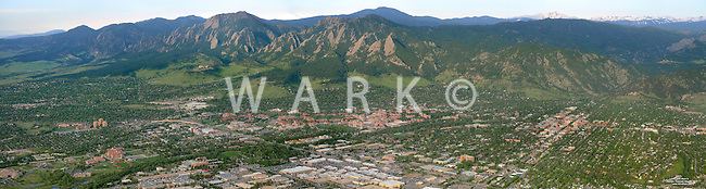 Panoramic aerial Boulder Colorado. May 2014.