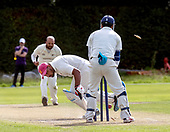 CS Challenge Cup Final, at Uddingston CC - Irvine CC bat is uprooted and dismissed for 38, though his side went on to win - picture by Donald MacLeod - 13.08.2017 - 07702 319 738 - clanmacleod@btinternet.com - www.donald-macleod.com